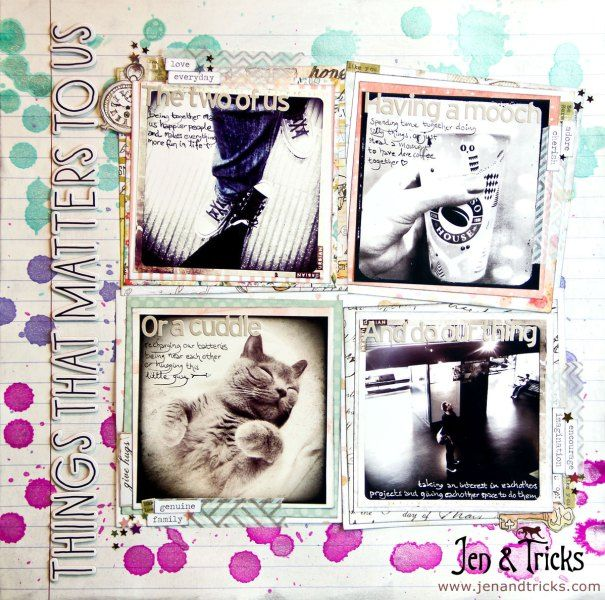 Things That Matters to Us - Scrapbook Layout by jenandtricks, for a Two Peas in a Bucket Video Challenge