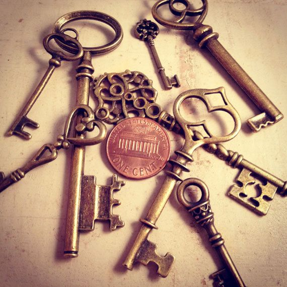 8 Pcs Skeleton Key Charms Antique Bronze Key Charm Victorian Key Charm Old Fashioned Key Charm Vintage Style Pendant Charm Jewelry Supplies. $4.99, via Etsy.