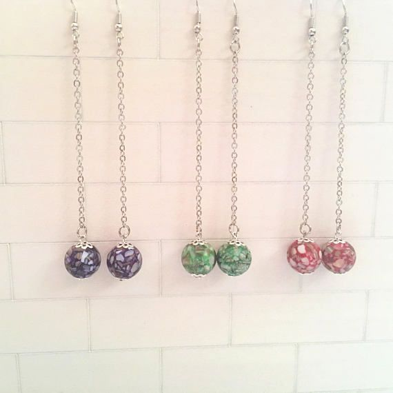 Handmade earring drops with 12mm curshed shell loose beads