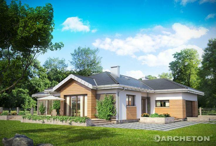 Projekt domu Aurelia - dom parterowy z garażem dwustanowiskowym, z dużym tarasem od strony ogrodu