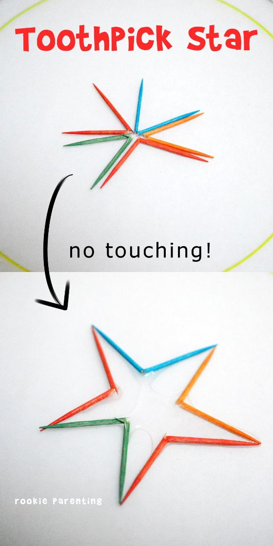 Toothpick Star Science Experiment - This science experiment is simply magical. Show your kids how you can turn broken toothpicks into a star without touching them.