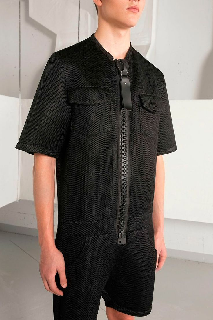 Lafaille ss15 men's black shorts jumpsuit with oversized zipper detail.