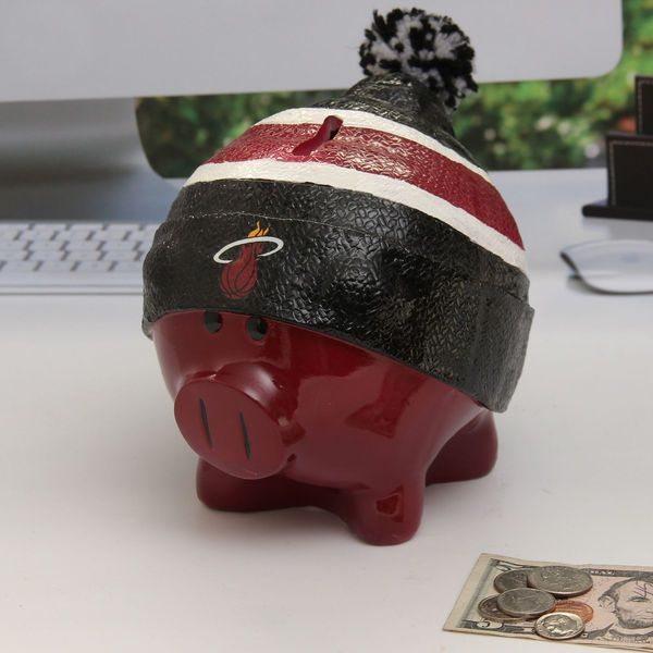 Miami Heat Large Piggy Bank With Hat - $18.99
