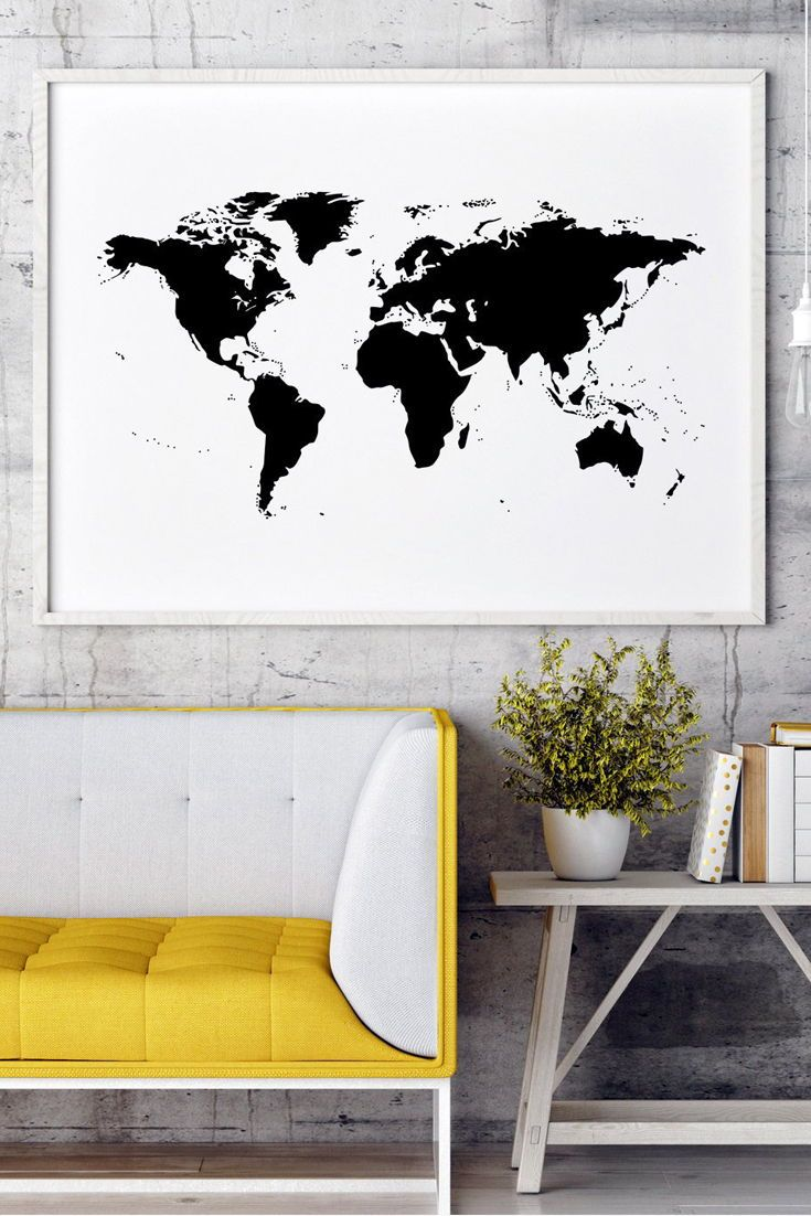 World Map Black And White World Map Poster World Map Wall Etsy