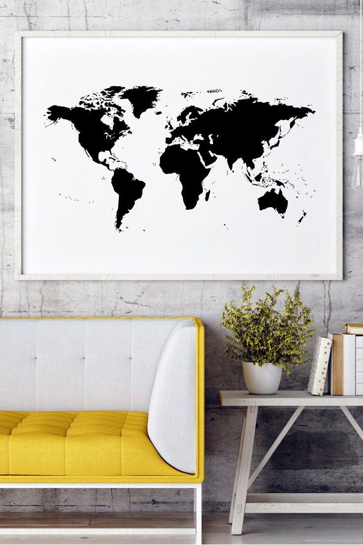 World Map Black And White World Map Poster World Map Wall Etsy Cafe Wall Art Navy Blue Wall Art Blue Wall Art