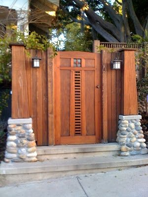 love this craftsman style fence and gate with asian influences description from