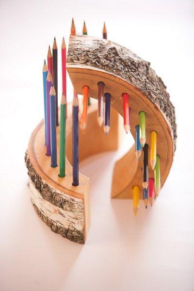 Wood Pencil Holder pen holder desk by PlaceCardHolderShop on Etsy, €18.00