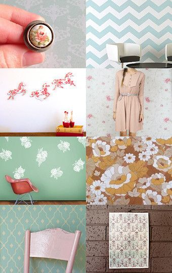 VINTAGE WALLPAPER!!!!  curated by princeandtower.etsy.com  --Pinned with TreasuryPin.com