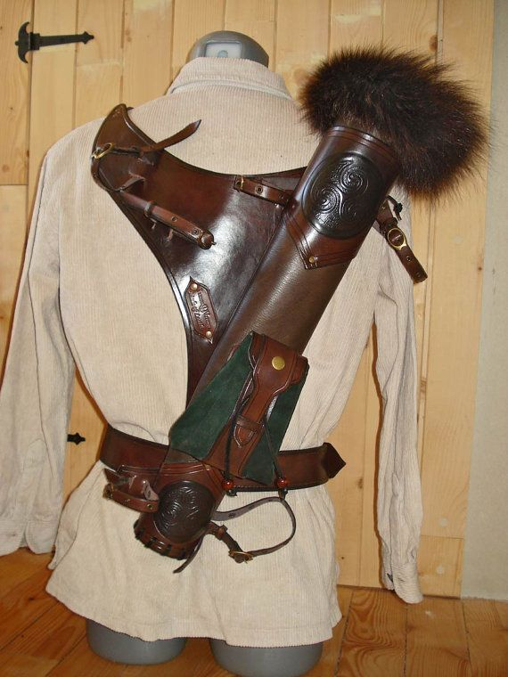 Multifunctional Tooled Leather Quiver Holding a by MadeOfLeather
