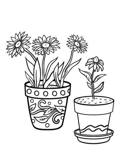 Printable Flower Pot Coloring Page Free PDF Download At