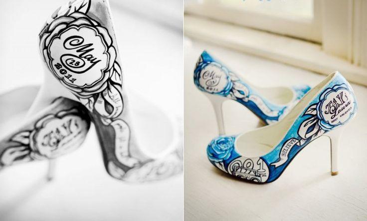 Красивая свадебная обувь! Свадебные туфли с персональным рисунком: новая тенденция!