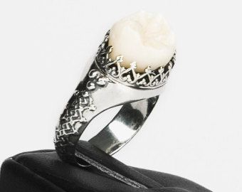 LOVED TO DEATH Gothic Victorian Memento Mori Human Tooth Ring Elaborate Band Sterling Size 7 or 8