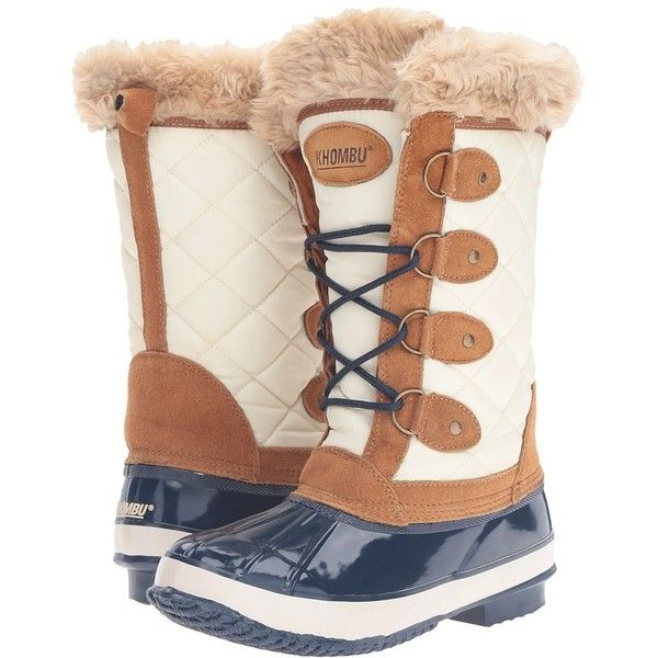 Khombu Andie (Tan/Navy) Women's Boots ($129) ❤ liked on Polyvore featuring shoes, boots, mid-calf boots, navy leather boots, tall lace up boots, leather lace up boots, khombu boots and navy blue leather boots