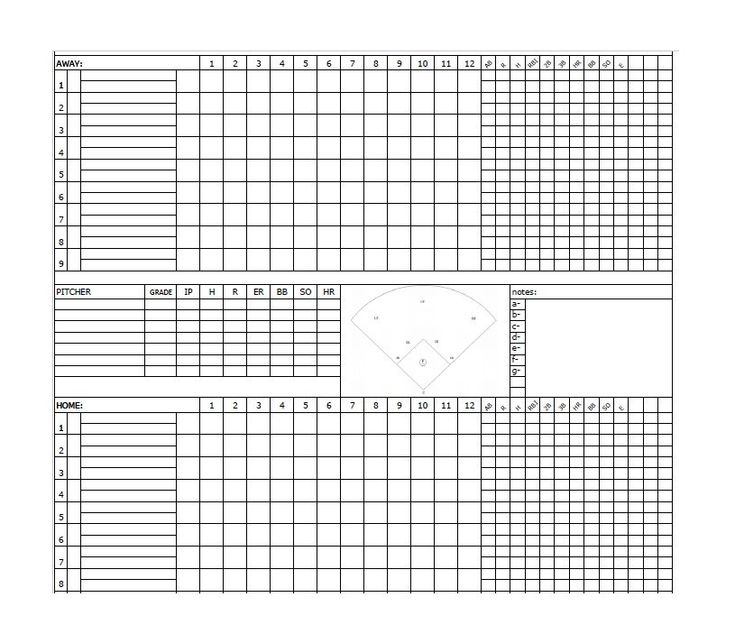 Baseball Scoresheet Template 12