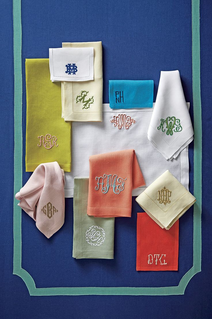 """""""Whether it's bedding, hand towels, or placemats, we Southerners just love to put our initials on things. At Southern Living we're especially fond of New Orleans based company Leontine Linens."""""""