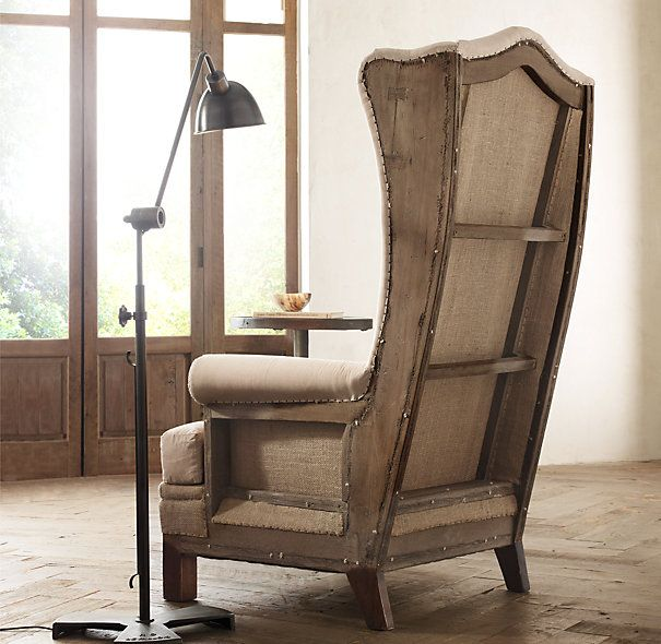 $1995 Deconstructed Highback Wing Chair Antiqued Cotton by Restoration Hardware - I am sorry but a half way upholstered chair? Really? Not a fan. Someone out there might like it however.