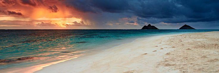 Lanikai sunrise Hawaii Oahu beach panoramic high-definition HD professional landscape photography.