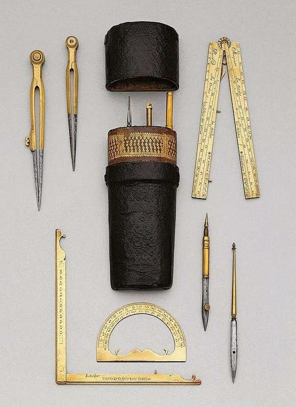 A FINE DRAWING SET, Paris, circa 1730. Brass and - by Koller Auctions