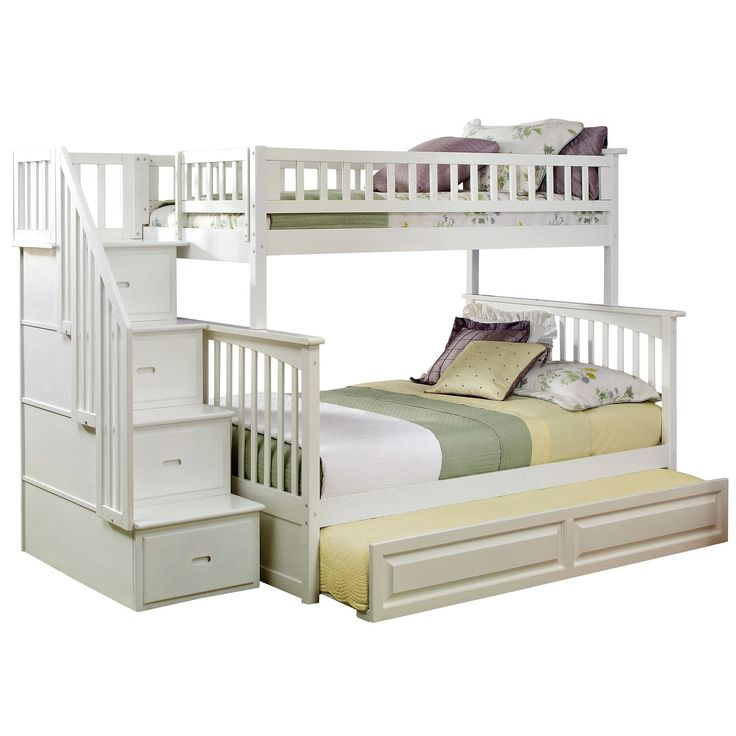 Atlantic Columbia Staircase Bunk Bed Twin over with Raised Panel Trundle Bed in