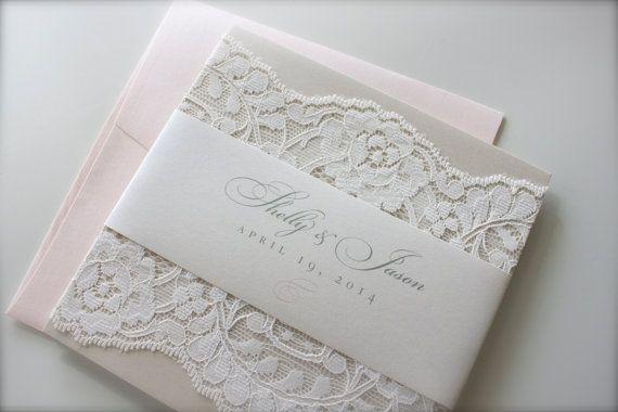 Lace Wedding Invitation, Shelly & Jason: soft. neutral. blush. ivory. cream. champagne. metallic. elegant. beautiful. pocket. on Etsy, $100.00