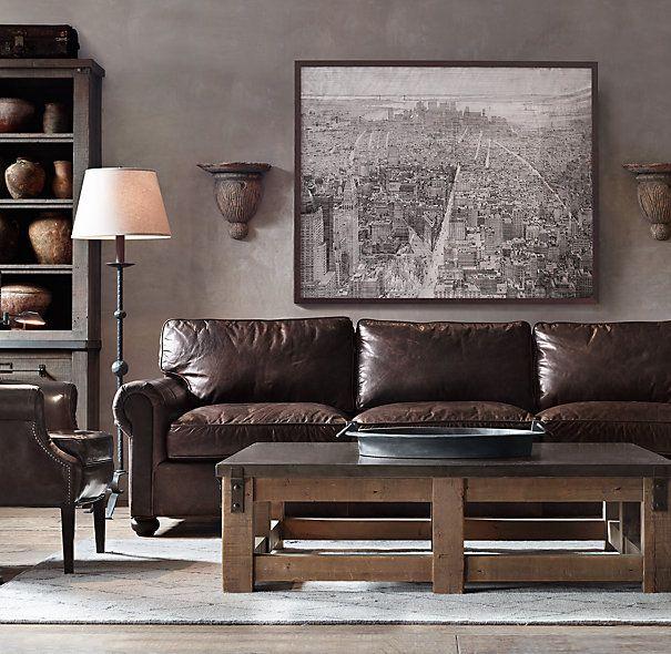 Lancaster Leather Sofas Brompton Pewter Italian Bershire Distressed Ebony  Sanctuary Floor Lamps And Wall Decor