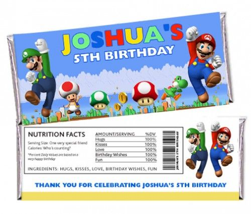 Super Mario Bros Brothers Custom Personalized Candy Bar