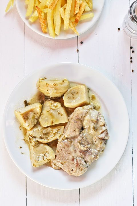 Arnaki me aginares, Greek  Lamb stew with artichokes: Easter Lamb, Authentic Greek Recipes, Greek Lamb, Greek Eating, Greek Easter, Greek Food, Greek Cuisine, Greek Cooking, Lamb Stew
