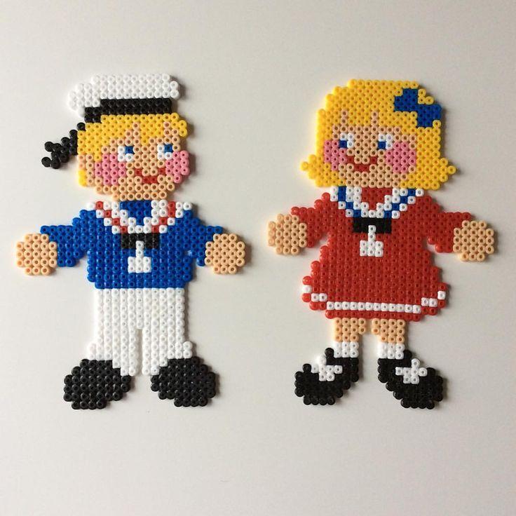 #sailor #matros #couple #sweet #blonde #meltedbeads #creative #creativity #hama #hamabeads #hamaperler #perlerbeads #perler #beads #homemade #fun #par #born #børneværelse #danmark #followmeformore #children #sailing #sailer