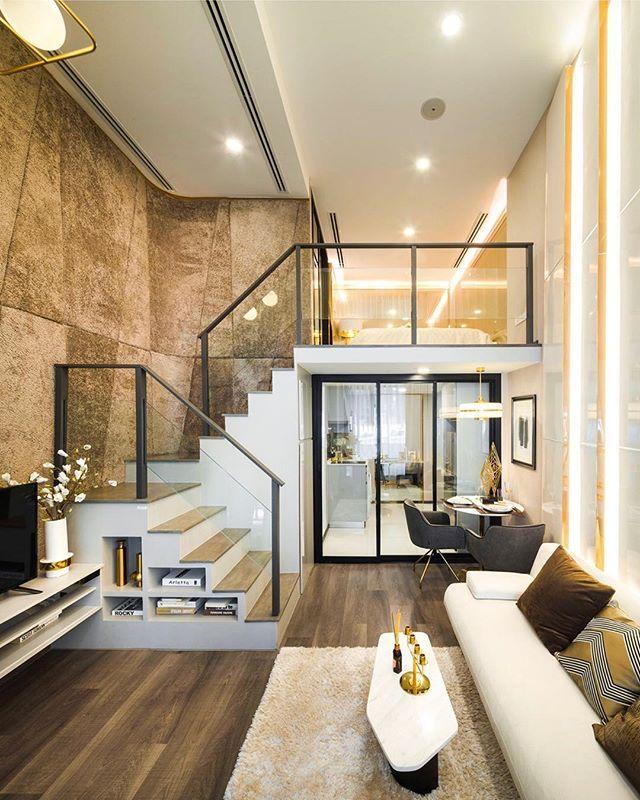 Gorgeous Modern Loft With Beautiful Contemporary Interior Glass Stair Rail And Led Light Loft Apartment Decorating Modern House Design Minimal Interior Design