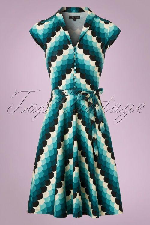King Louie - 70s Emmy Frisky Dress in Dragonfly Blue