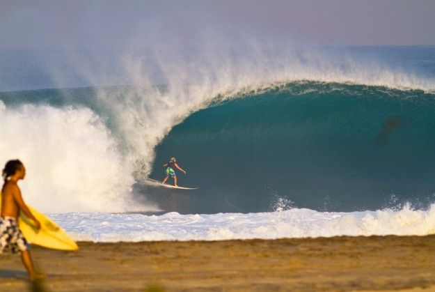 Puerto Escondido, mexico.  a.k.a. the mexican pipeline.  doug broke more than one board here.  warm water.  sick waves.