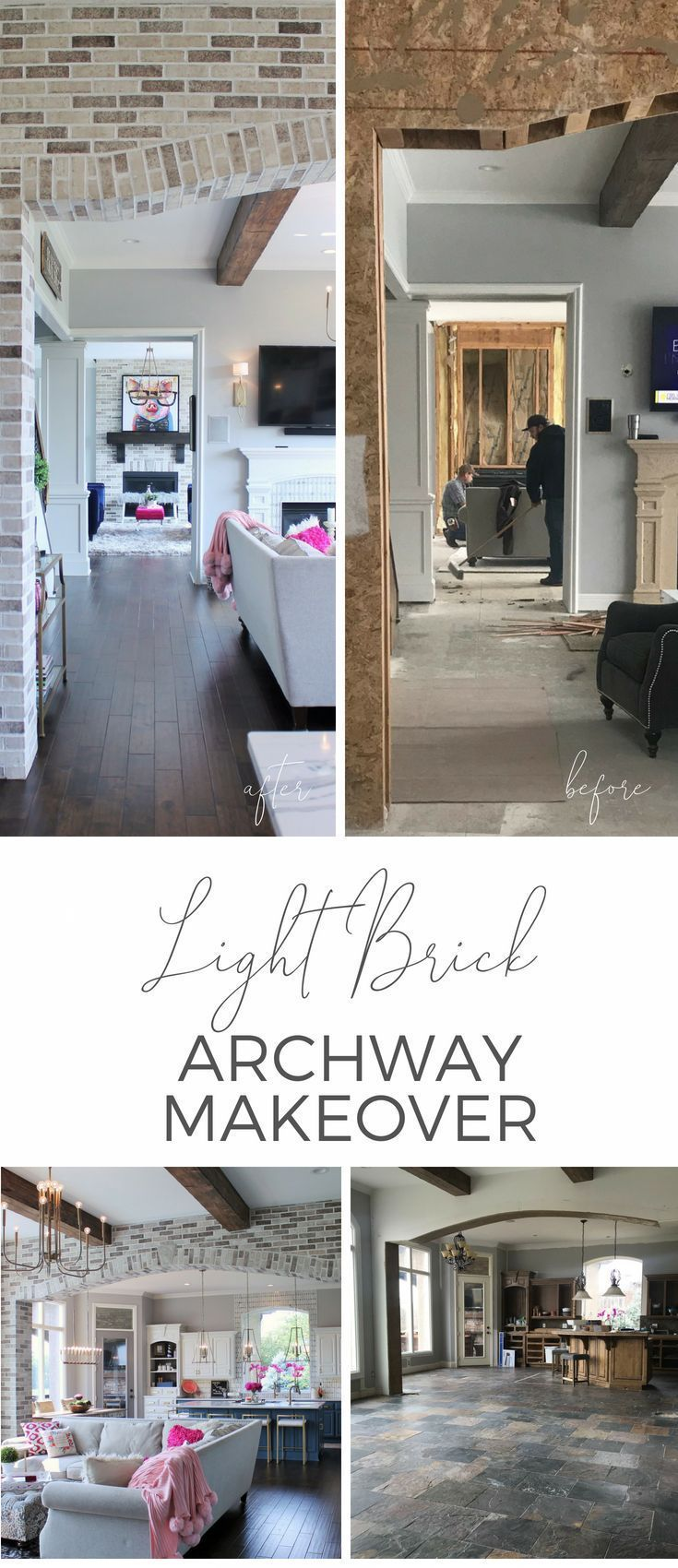 Look at this elegant brick archway makeover living room