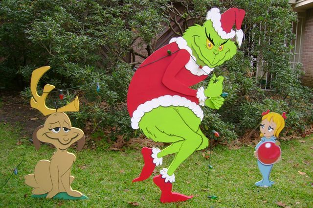 """""""How The Grinch Stole Christmas"""" movie characters are custom-made-to-order in proportionate sizes to either a 5' or 4' tall Grinch by ART DE YARD in Houston, TX."""