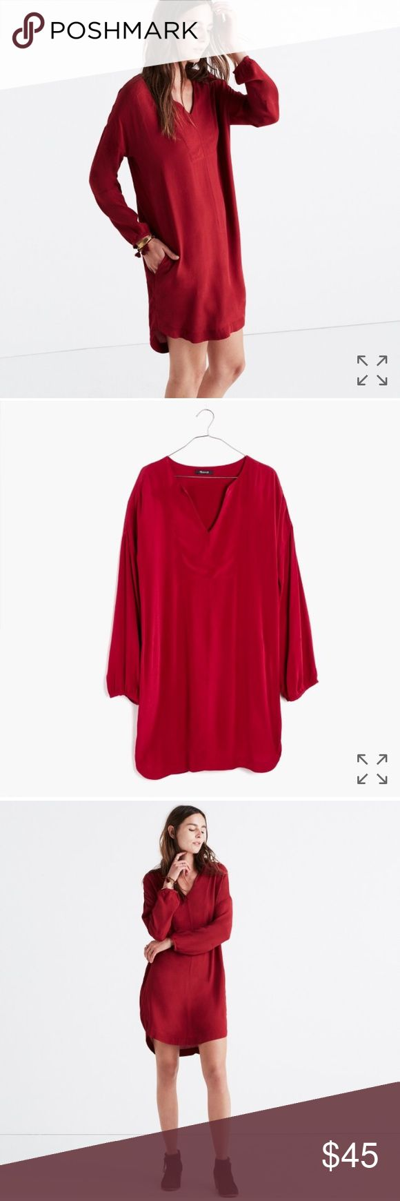 Madewell Red Tunic Dress BNWT Red Madewell Du-Jour Three Quarter sleeve dress. Brand new with tags! Madewell Dresses