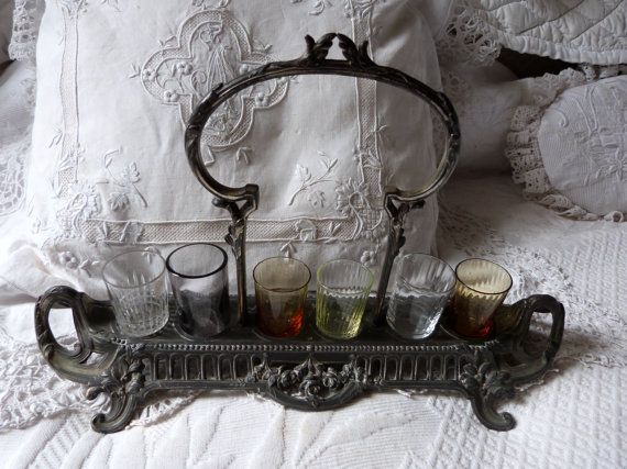 Antique French liquor glasses set cordial by MyFrenchAntiqueShop