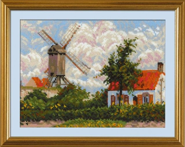 Still Colorful Felted Wool Windmill Painting