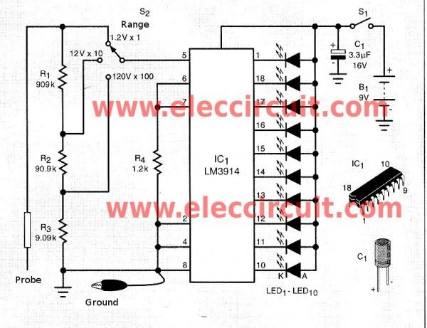 Simple Led Voltmeter Circuit Using Lm3914 Eleccircuit Circuit Led Power Supply Circuit