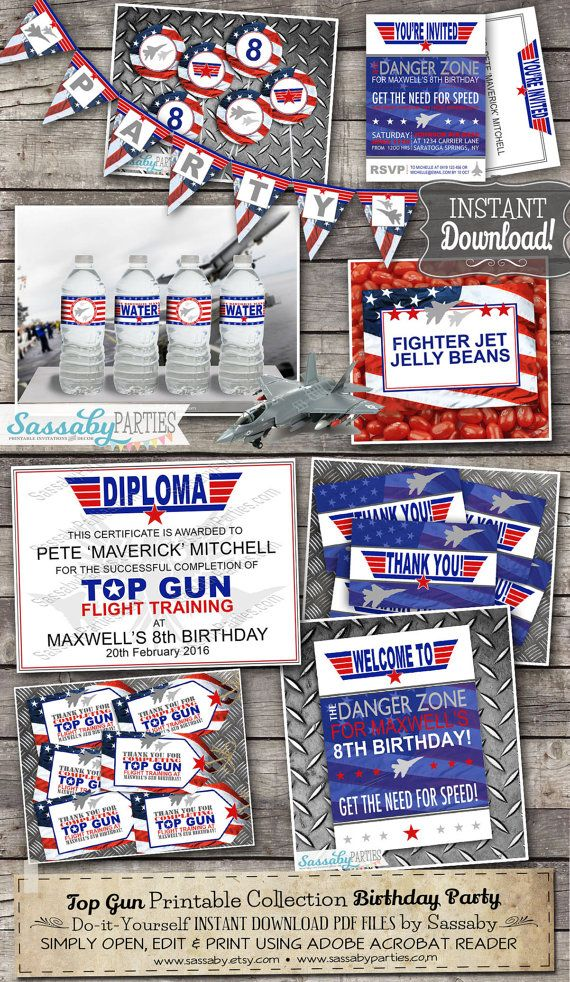 Top Gun Party Collection Editable & Printable INSTANT DOWNLOAD by SassabyParties