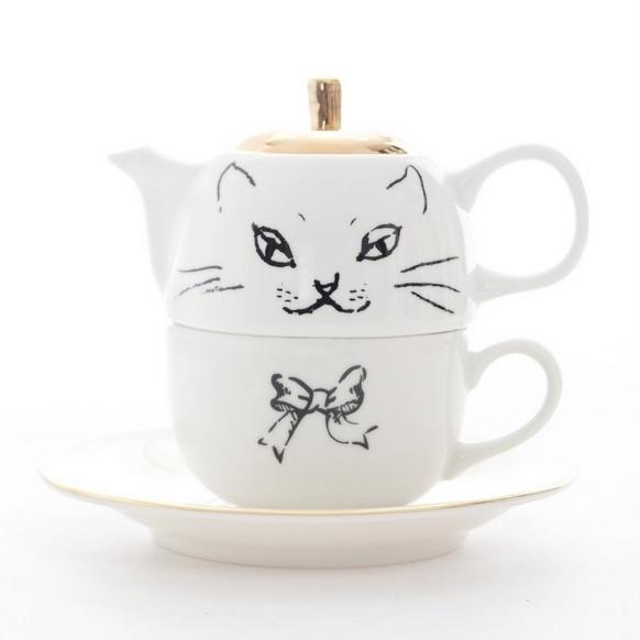 Cat cup + tea pot