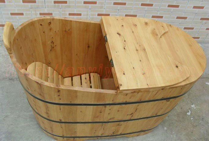 Indoor Oval Cedar Wooden Bathtub,Soaking Wooden Barrel - Buy ...