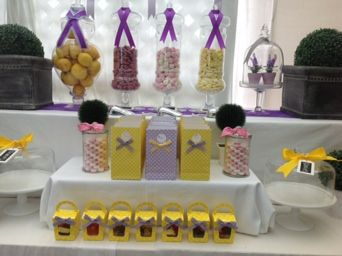 Purple and yellow birthday party, lolly buffet