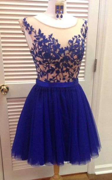 5a9780df8d429d Floral Applique Tulle Skirt Short Illusion Homecoming Dress Royal 11171