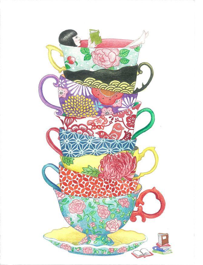 Buena literatura, porcelana fina… falta el café para una buena tarde lectora (ilustración de Seng Soun Ratanavanh)