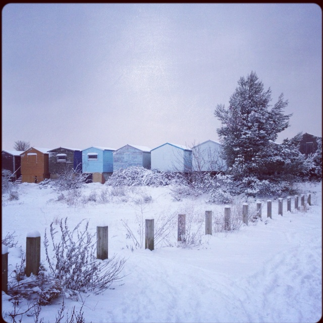 Snowy Whitstable Beach Huts ...