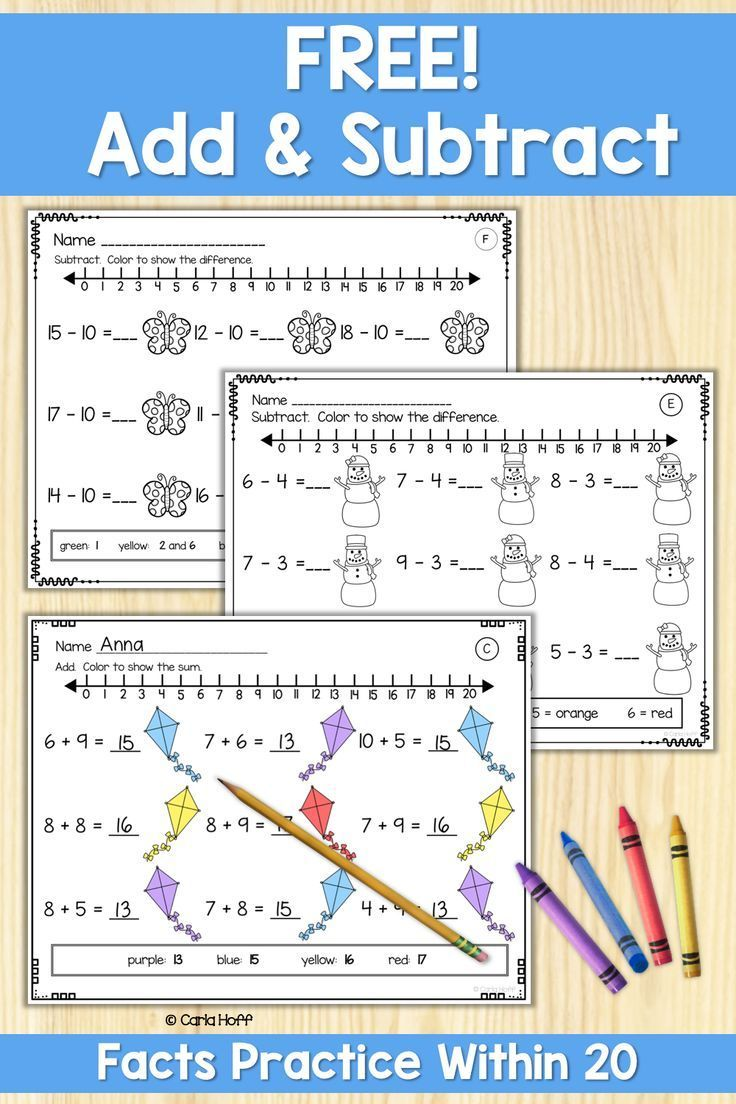FREE Addition and Subtraction to 20 Worksheets   Distance Learning   Math fact  worksheets [ 1104 x 736 Pixel ]