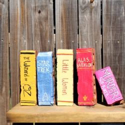 """Use this DIY to restyle bricks into """"books"""" to use as decorations!"""