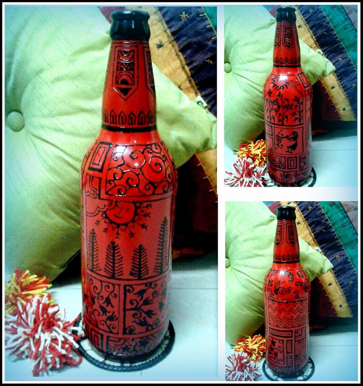 Hand Painted up cycled bottle