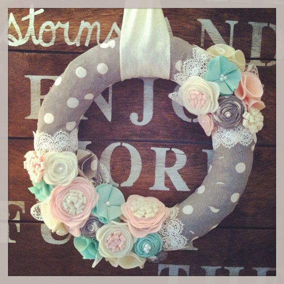 Bridal wreath, felt flower wreath, wedding wreath, lace wreath, pink and gray, polka dot wreath, girls room decor, feminine wreath on Etsy, $45.00