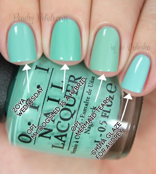"""OPI: Nordic Collection Comparisons Pointer to pinkie; 2 coats of each: Zoya """"Wednesday"""", OPI """"My Dogsled Is A Hybrid"""", OPI """"Mermaid Tears"""" & China Glaze """"For Audrey"""""""