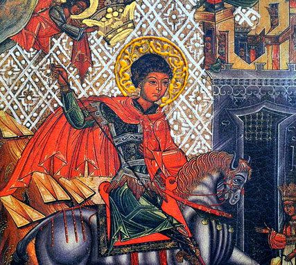 Saint George The Victorious - antique art iconography paint in byzantine style orthodox catholic wooden religious icon guardian angel gift for dad husband friend parents godparents grandparent.  Saint George The Victorious - patron of the military, farmers, livestock farmers. $149.00